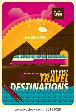 Traveling illustration with train. Vector illustration.