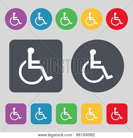 Disabled Icon Sign. A Set Of 12 Colored Buttons. Flat Design. Vector