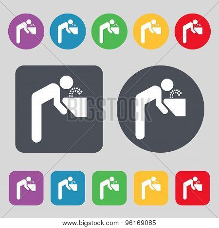 Drinking Fountain Icon Sign. A Set Of 12 Colored Buttons. Flat Design. Vector
