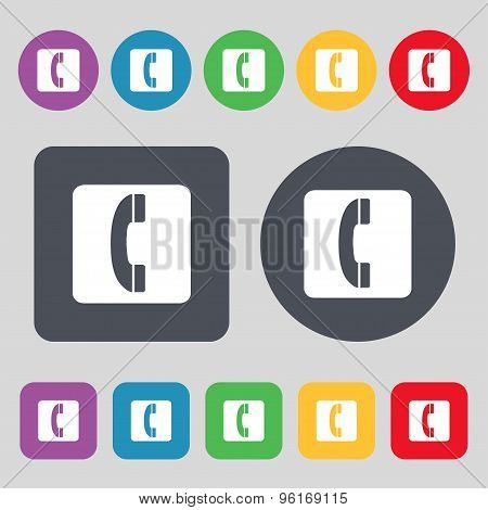 Handset Icon Sign. A Set Of 12 Colored Buttons. Flat Design. Vector