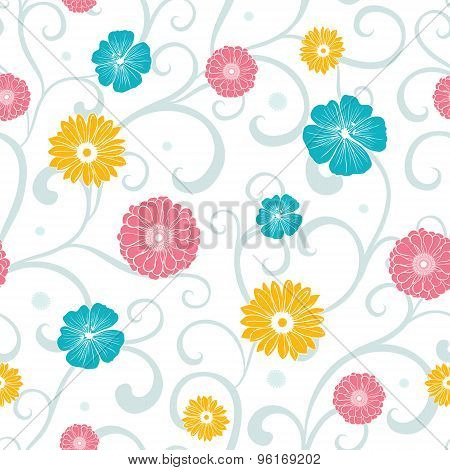 Vector Colorful Flowers on Swirly Braches Seamless Pattern