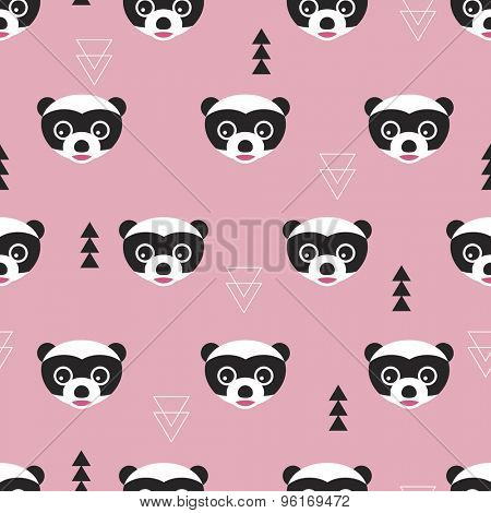 Seamless cute kids raccoon geometric abstract tree woodland illustration background pattern in vector