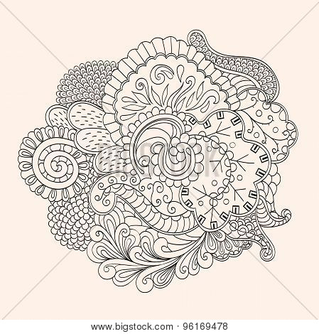 Mehendi tracery isolated hindi handmade drawing