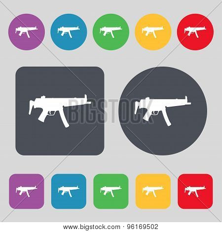 Machine Gun Icon Sign. A Set Of 12 Colored Buttons. Flat Design. Vector