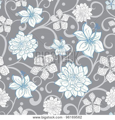 Vector Gray Sky Blue Swirl Florals Seamless Pattern