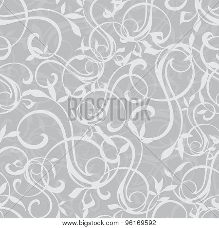 Vector Gray Swirly Texture Seamless Pattern