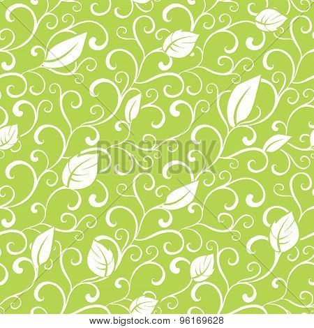 Vector Green Swirl Branches Leaves Seamless Pattern
