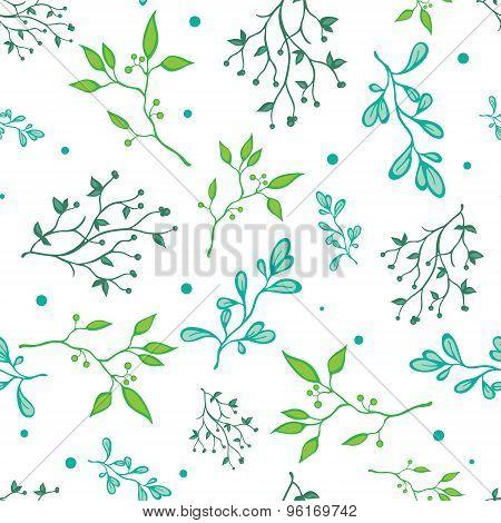 Vector Spring Green Braches on White Seamless Pattern