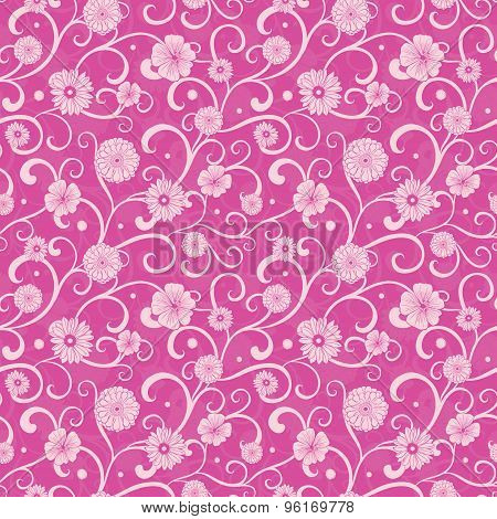 Vector Vintage Pink Flowers on Swirly Braches Seamless Pattern