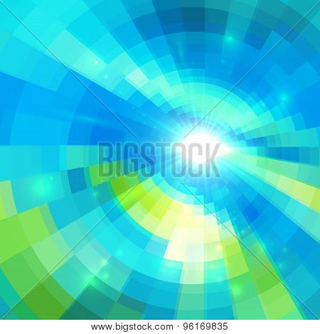 Abstract blue technology concentric mosaic background