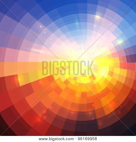 Abstract sunset effect technology concentric mosaic background