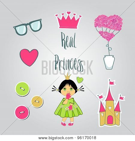 Princess illustration set. Princess,crown,flowers,castle for greeting cards.