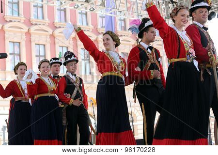 ZAGREB, CROATIA - JULY 17: Members of folk group from Lastovo, Croatia during the 49th International Folklore Festival in center of Zagreb, Croatia on July 17, 2015