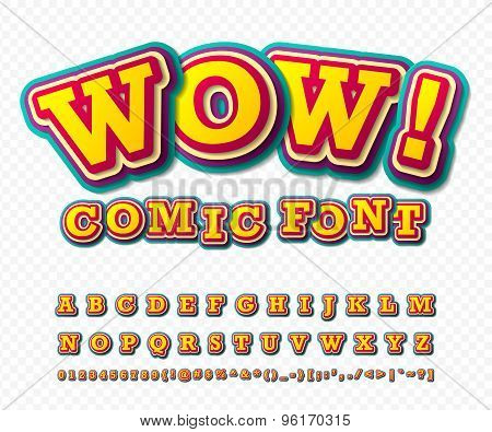 Wow. Comic Font. Alphabet In Style Of Comics, Pop Art.