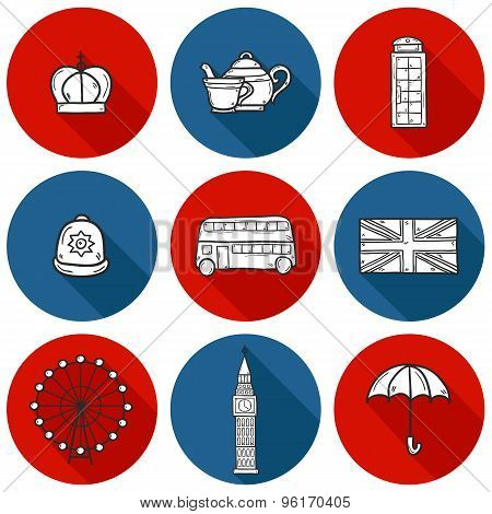 Set of cute hand drawn cartoon objects on London theme: queen crown, red bus, big ben, umbrella, lon
