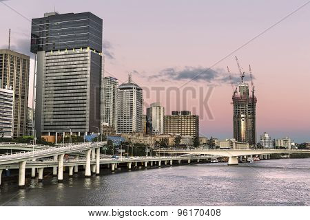 Brisbane Cityscape sunset closeup with 1 William St