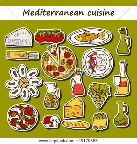 Set of cute hand drawn cartoon stickers on mediterranean cuisine theme: tomato, pasta, wine, cheese,