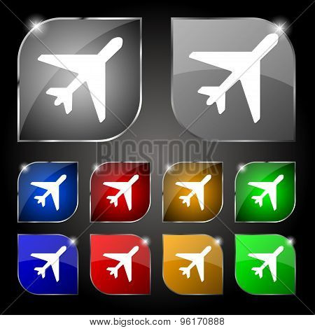 Airplane Icon Sign. Set Of Ten Colorful Buttons With Glare. Vector