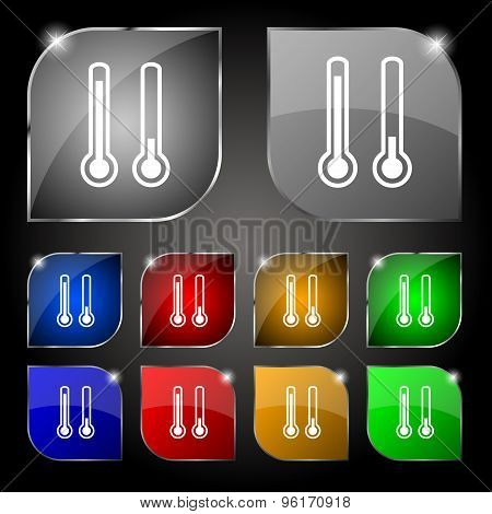 Thermometer Temperature Icon Sign. Set Of Ten Colorful Buttons With Glare. Vector