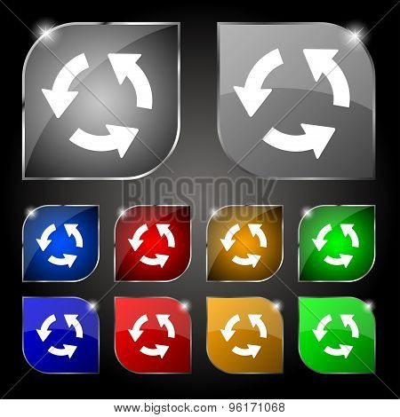 Refresh Icon Sign. Set Of Ten Colorful Buttons With Glare. Vector