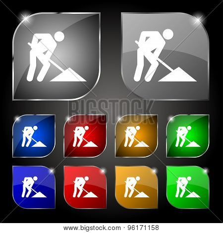 Repair Of Road, Construction Work Icon Sign. Set Of Ten Colorful Buttons With Glare. Vector