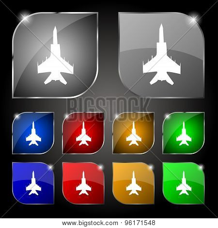 Fighter Icon Sign. Set Of Ten Colorful Buttons With Glare. Vector