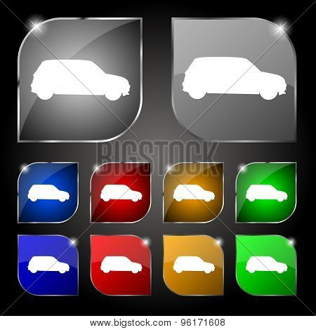 Jeep Icon Sign. Set Of Ten Colorful Buttons With Glare. Vector