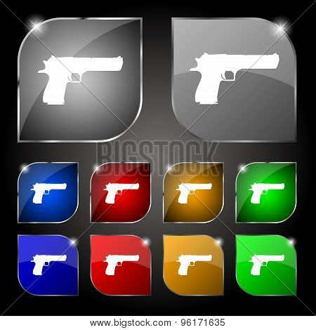 Gun Icon Sign. Set Of Ten Colorful Buttons With Glare. Vector