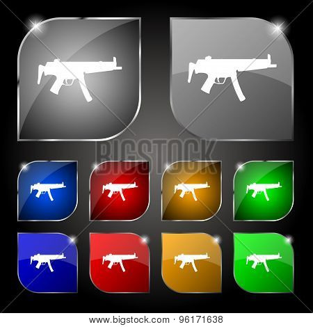 Machine Gun Icon Sign. Set Of Ten Colorful Buttons With Glare. Vector