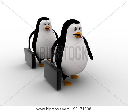 3D Penguin Going To Work With Briefcase In Hand Concept