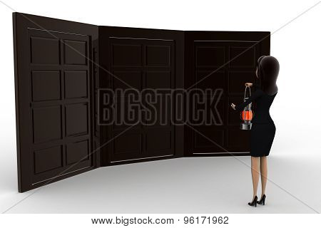3D Woman With Oil Lamp And Three Different Doors Concept