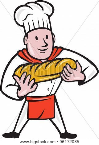 Baker Holding Bread Loaf Isolated Cartoon