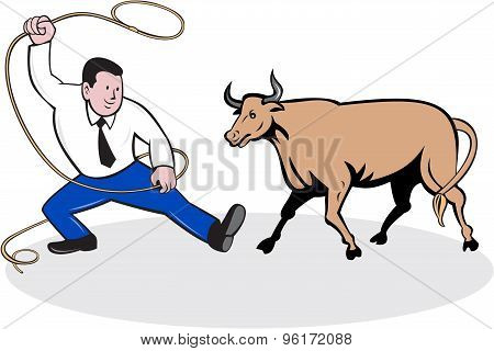 Businessman Holding Lasso Bull Cartoon