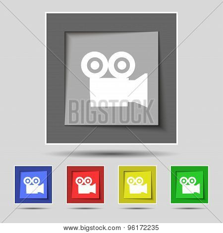 Video Camera Icon Sign On Original Five Colored Buttons. Vector