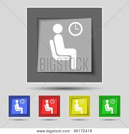 Waiting Icon Sign On Original Five Colored Buttons. Vector
