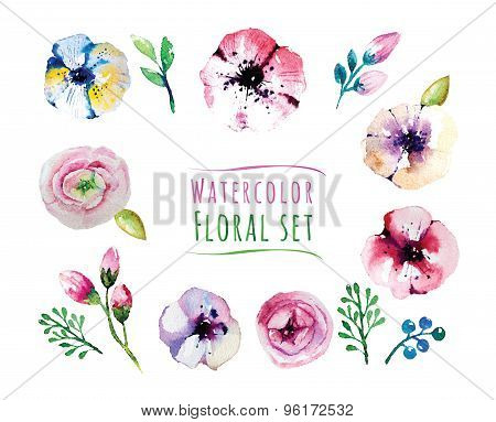 Watercolorflorals elements set. Vintage leaves, flowers and bran