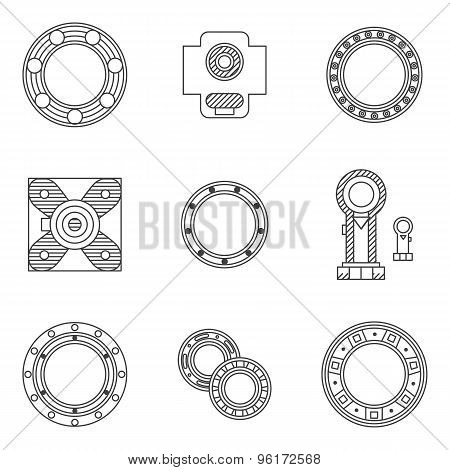 Set of bearings flat line vector icons