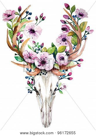 Bright watercolor vector deer skull with  flowers.