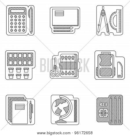 School subjects flat line vector icons