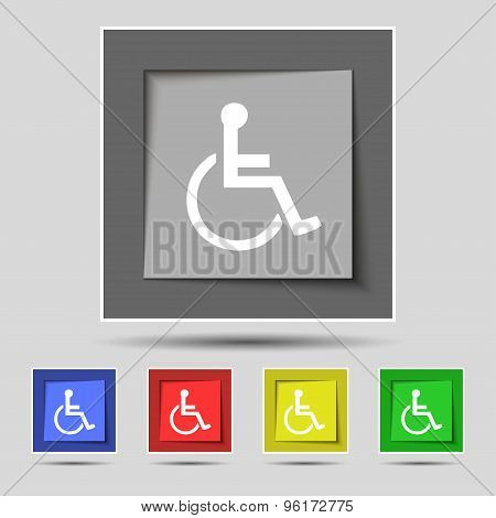 Disabled Icon Sign On Original Five Colored Buttons. Vector