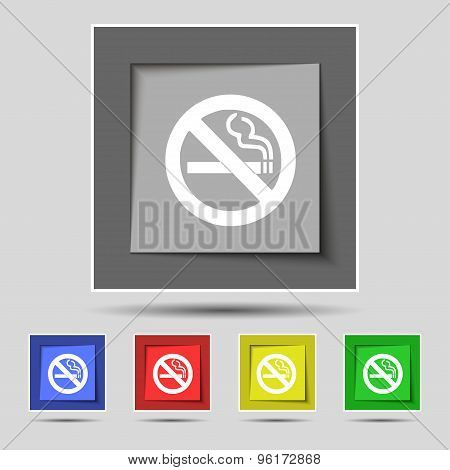 No Smoking Icon Sign On Original Five Colored Buttons. Vector