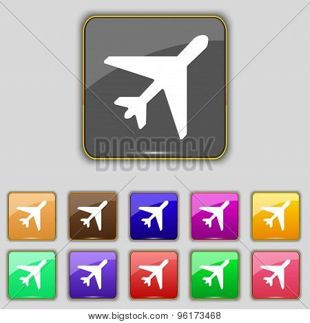 Airplane Icon Sign. Set With Eleven Colored Buttons For Your Site. Vector