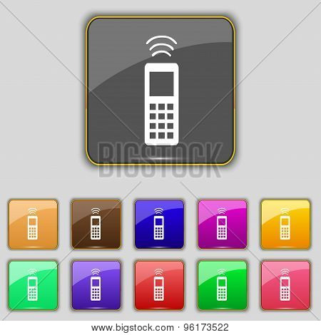 The Remote Control Icon Sign. Set With Eleven Colored Buttons For Your Site. Vector