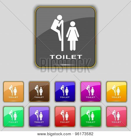 Toilet Icon Sign. Set With Eleven Colored Buttons For Your Site. Vector