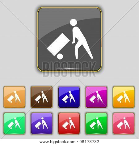 Loader Icon Sign. Set With Eleven Colored Buttons For Your Site. Vector
