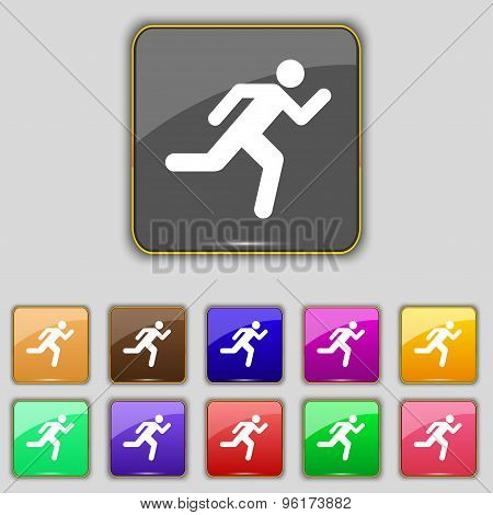 Running Man Icon Sign. Set With Eleven Colored Buttons For Your Site. Vector