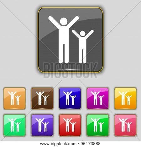 Happy Family Icon Sign. Set With Eleven Colored Buttons For Your Site. Vector