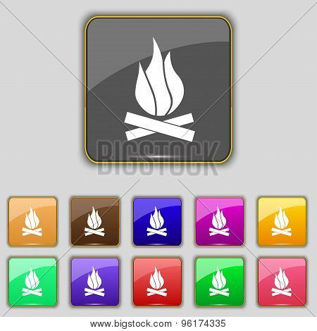 A Fire Icon Sign. Set With Eleven Colored Buttons For Your Site. Vector