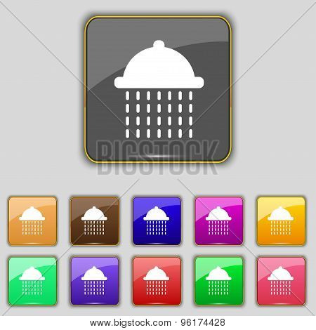 Shower Icon Sign. Set With Eleven Colored Buttons For Your Site. Vector