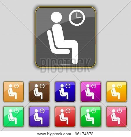 Waiting Icon Sign. Set With Eleven Colored Buttons For Your Site. Vector